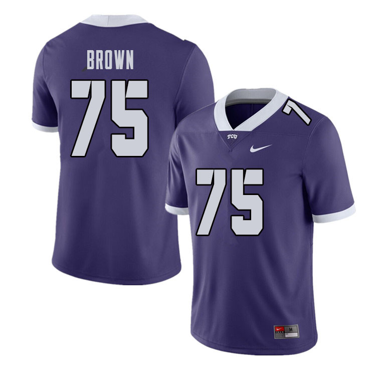 Men #75 Brannon Brown TCU Horned Frogs College Football Jerseys Sale-Purple