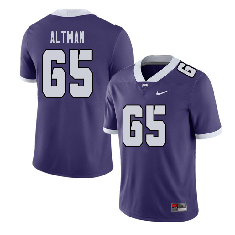 Men #65 Colson Altman TCU Horned Frogs College Football Jerseys Sale-Purple