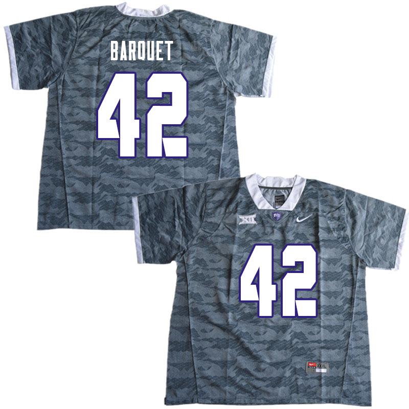 Men #42 Earl Barquet TCU Horned Frogs College Football Jerseys Sale-Gray