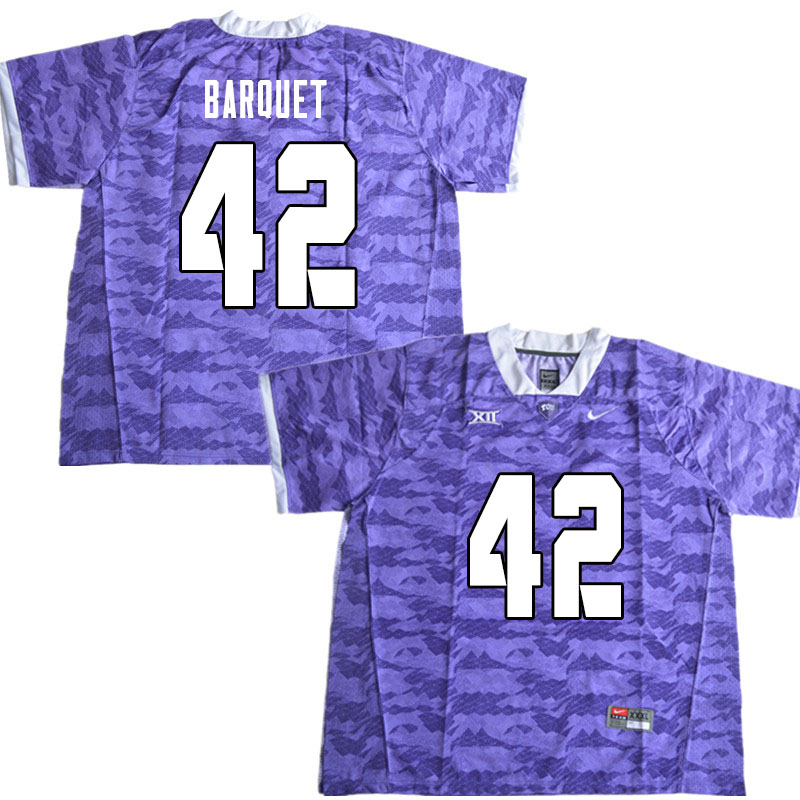 Men #42 Earl Barquet TCU Horned Frogs College Football Jerseys Sale-Limited Purple