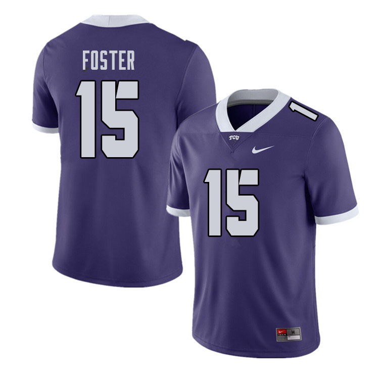 Men #15 Josh Foster TCU Horned Frogs College Football Jerseys Sale-Purple