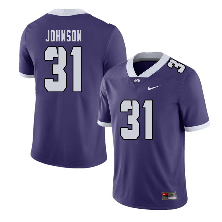 Men #31 Karter Johnson TCU Horned Frogs College Football Jerseys Sale-Purple