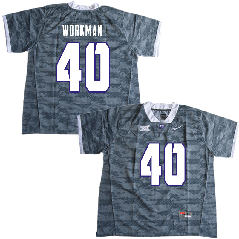 Men #40 Parker Workman TCU Horned Frogs College Football Jerseys Sale-Gray