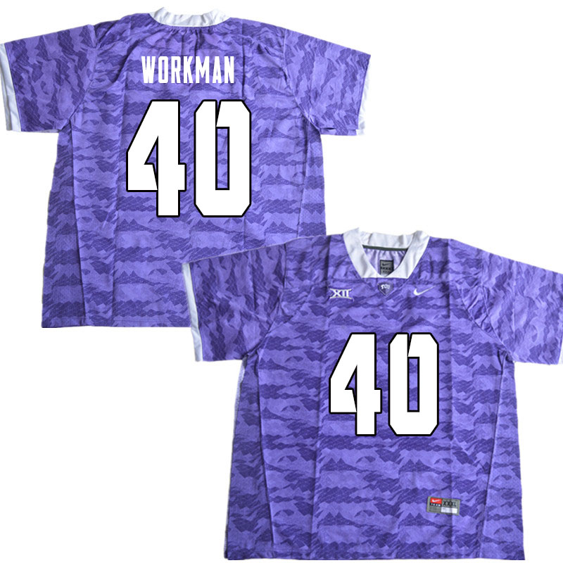 Men #40 Parker Workman TCU Horned Frogs College Football Jerseys Sale-Limited Purple