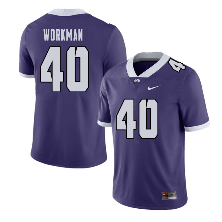 Men #40 Parker Workman TCU Horned Frogs College Football Jerseys Sale-Purple