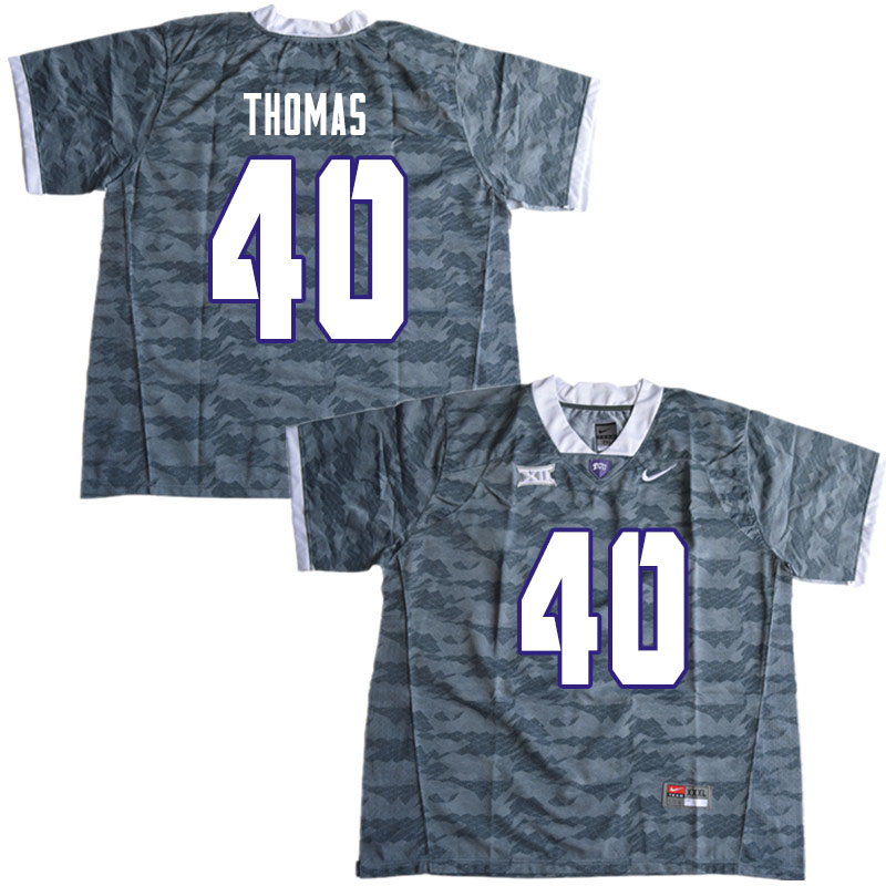 Men #40 Ray Thomas TCU Horned Frogs College Football Jerseys Sale-Gray