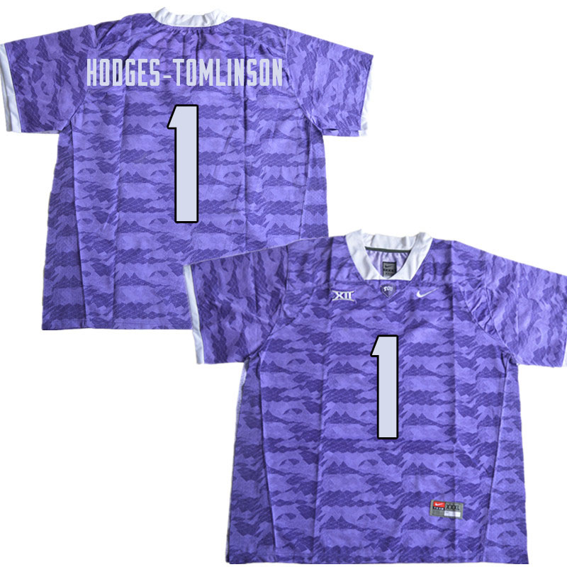 Men #1 Tre'Vius Hodges-Tomlinson TCU Horned Frogs College Football Jerseys Sale-Limited Purple