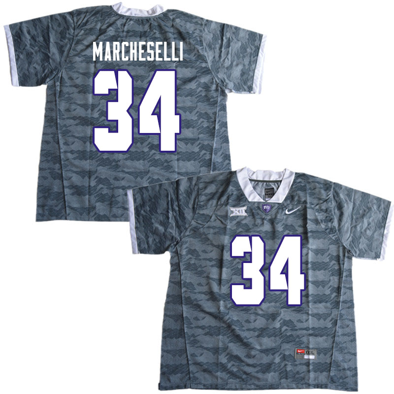 Men #34 Zach Marcheselli TCU Horned Frogs College Football Jerseys Sale-Gray