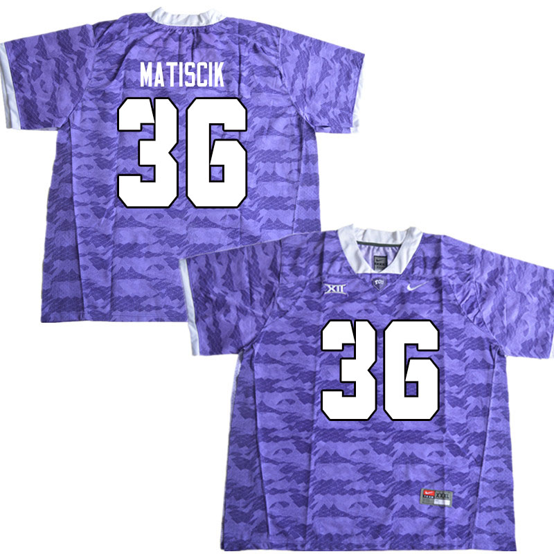 Men #36 Brent Matiscik TCU Horned Frogs College Football Jerseys Sale-Limited Purple