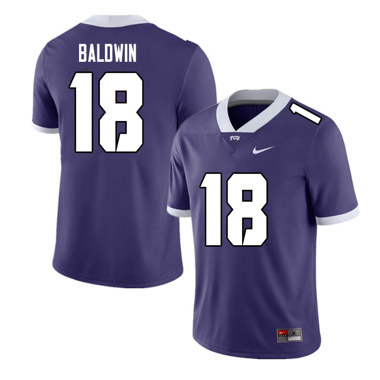 Men #18 Matthew Baldwin TCU Horned Frogs College Football Jerseys Sale-Purple
