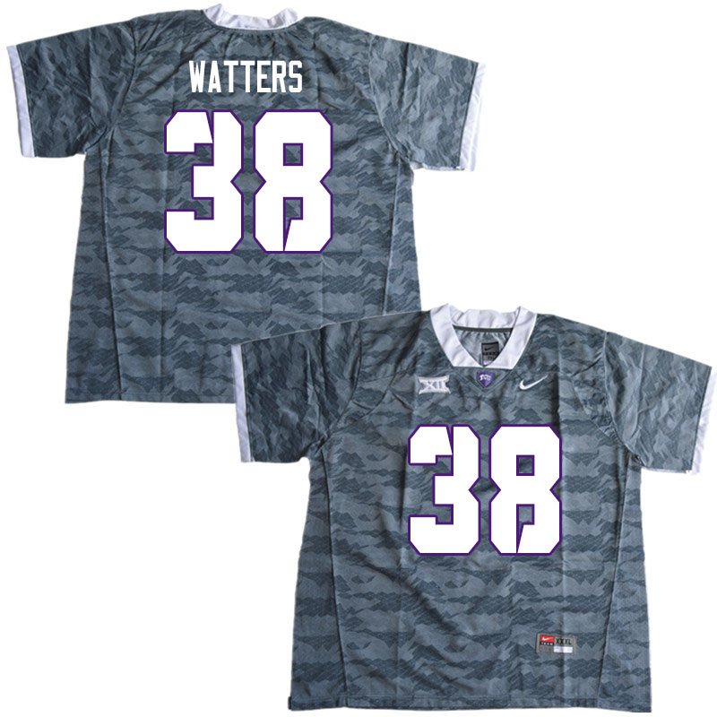 Men #38 Payton Watters TCU Horned Frogs College Football Jerseys Sale-Gray