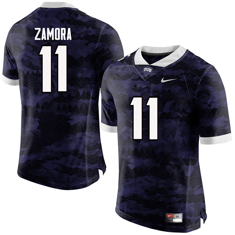 Men #11 Asaph Zamora TCU Horned Frogs College Football Jerseys-Purple