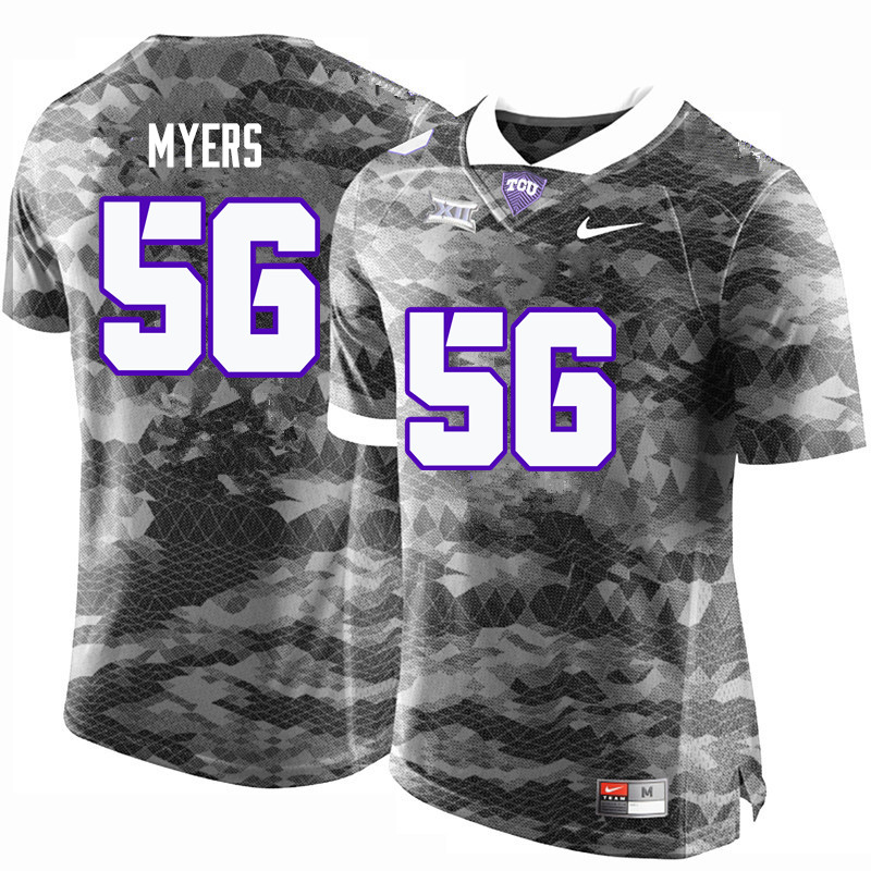 Men #56 Austin Myers TCU Horned Frogs College Football Jerseys-Gray