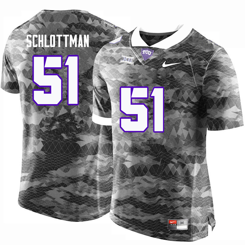 Men #51 Austin Schlottman TCU Horned Frogs College Football Jerseys-Gray