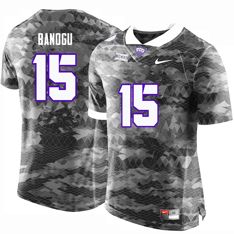 Men #15 Ben Banogu TCU Horned Frogs College Football Jerseys-Gray