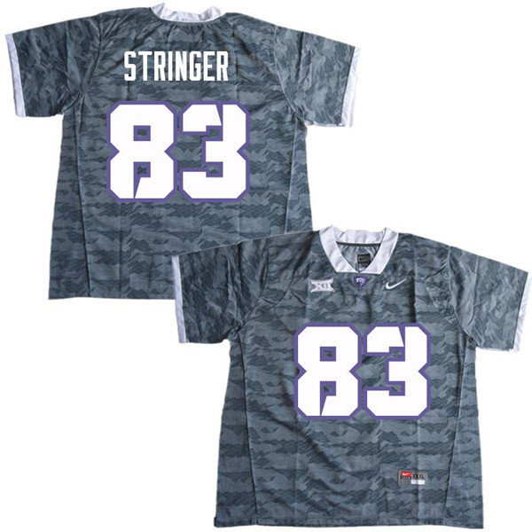 Men #83 Brady Stringer TCU Horned Frogs College Football Jerseys Sale-Gray