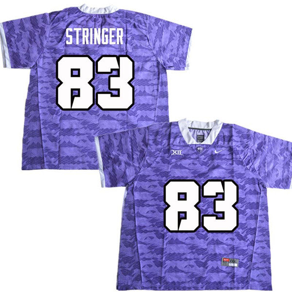 Men #83 Brady Stringer TCU Horned Frogs College Football Jerseys Sale-Purple
