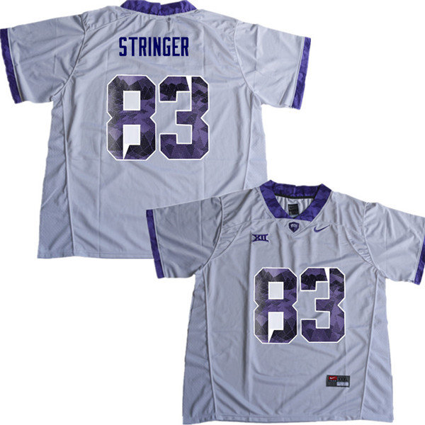 Men #83 Brady Stringer TCU Horned Frogs College Football Jerseys Sale-White