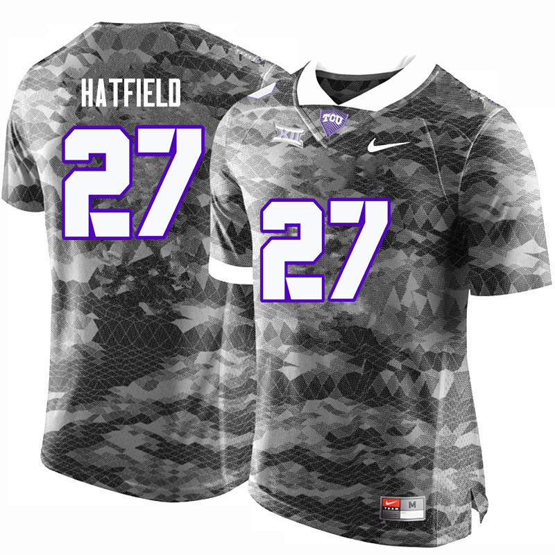 Men #27 Brandon Hatfield TCU Horned Frogs College Football Jerseys-Gray