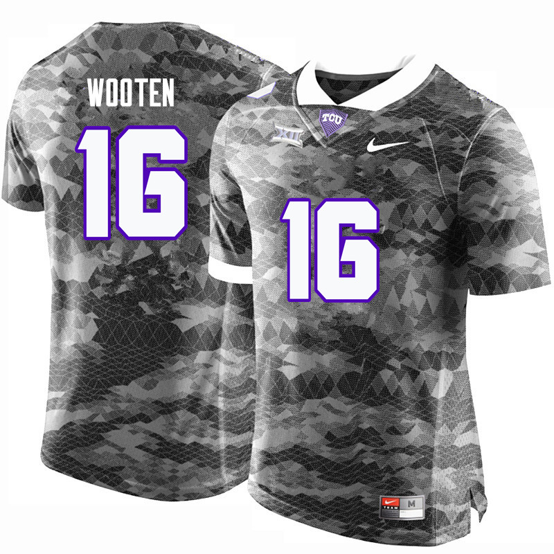 Men #16 Brennen Wooten TCU Horned Frogs College Football Jerseys-Gray