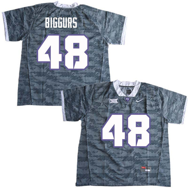 Men #48 Caleb Biggurs TCU Horned Frogs College Football Jerseys Sale-Gray
