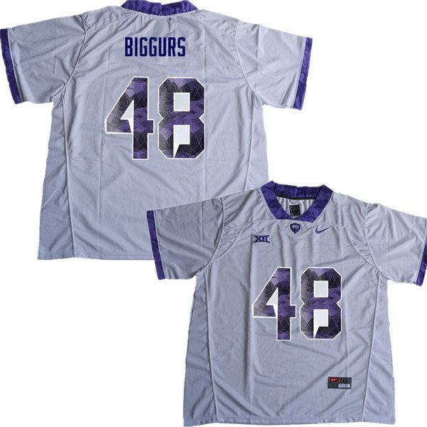Men #48 Caleb Biggurs TCU Horned Frogs College Football Jerseys Sale-White