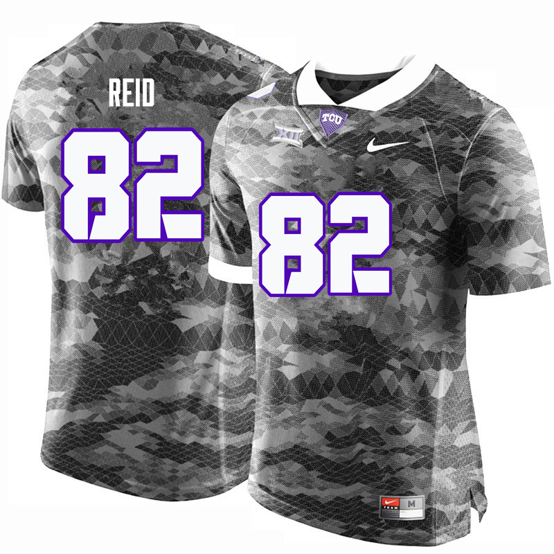 Men #82 Charlie Reid TCU Horned Frogs College Football Jerseys-Gray