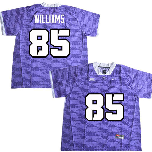 Men #85 Christian Williams TCU Horned Frogs College Football Jerseys Sale-Purple