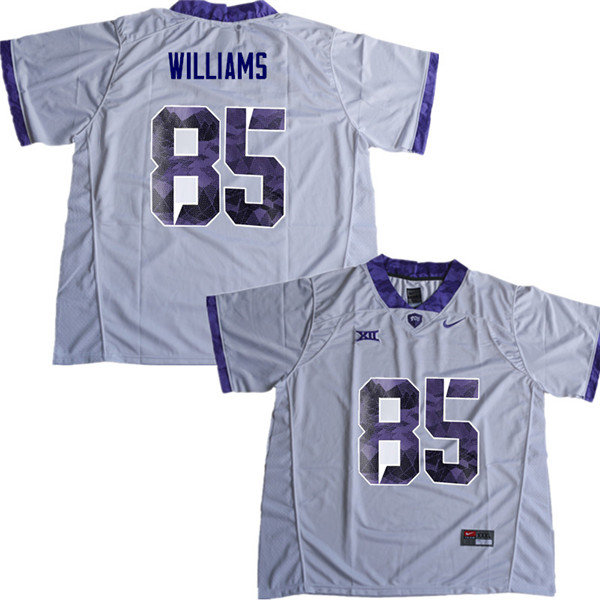 Men #85 Christian Williams TCU Horned Frogs College Football Jerseys Sale-White