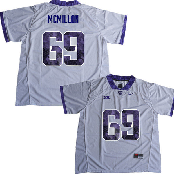Men #69 Coy McMillon TCU Horned Frogs College Football Jerseys Sale-White