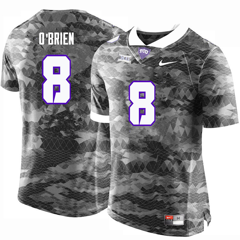 Men #8 Davey O'Brien TCU Horned Frogs College Football Jerseys-Gray