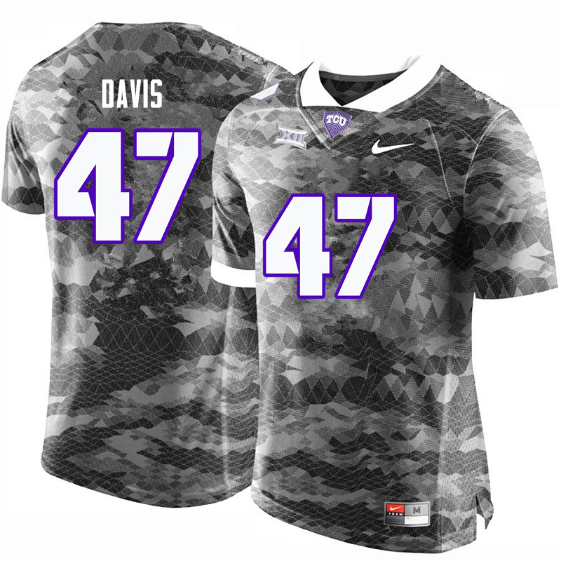 Men #47 Daythan Davis TCU Horned Frogs College Football Jerseys-Gray