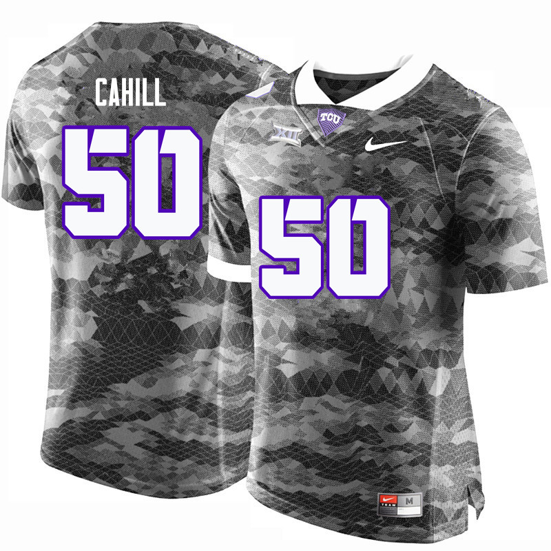 Men #50 Donovan Cahill TCU Horned Frogs College Football Jerseys-Gray