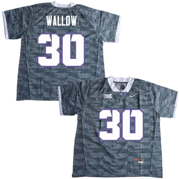 Men #30 Garret Wallow TCU Horned Frogs College Football Jerseys Sale-Gray