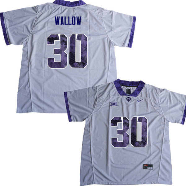 Men #30 Garret Wallow TCU Horned Frogs College Football Jerseys Sale-White