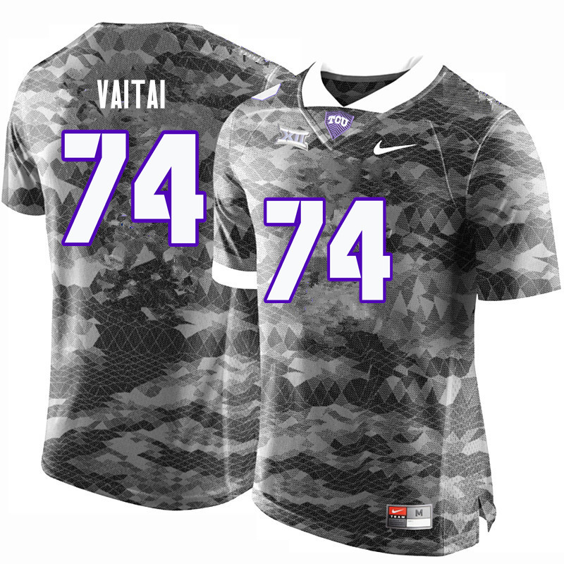 Men #74 Halapoulivaati Vaitai TCU Horned Frogs College Football Jerseys-Gray