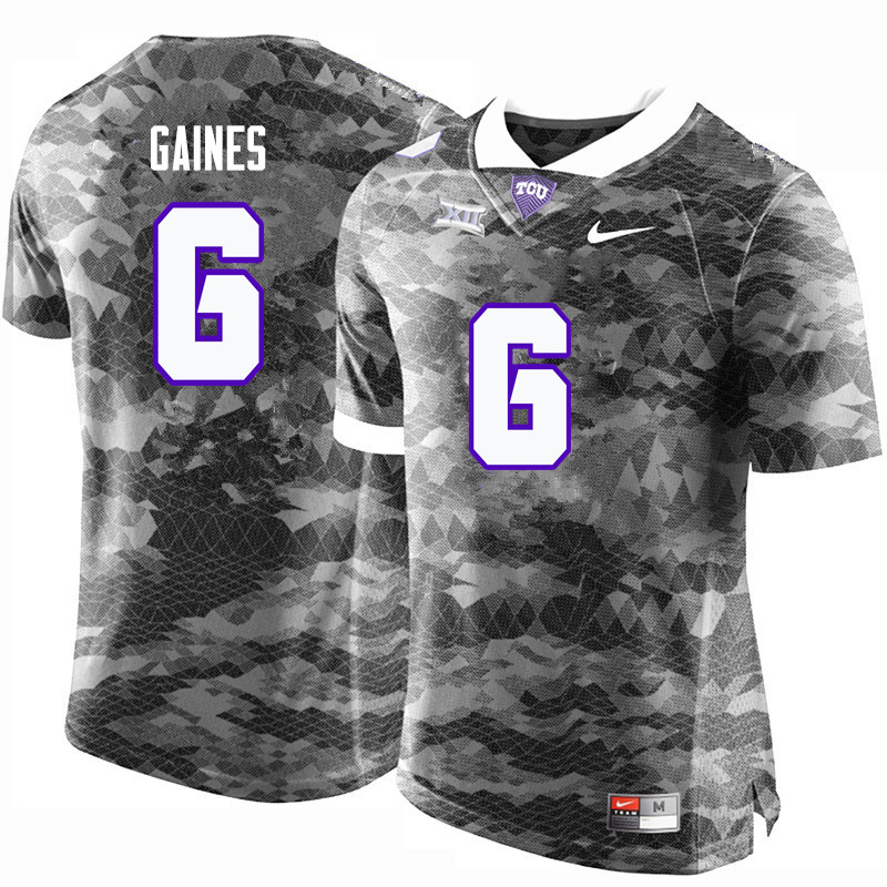 Men #6 Innis Gaines TCU Horned Frogs College Football Jerseys-Gray