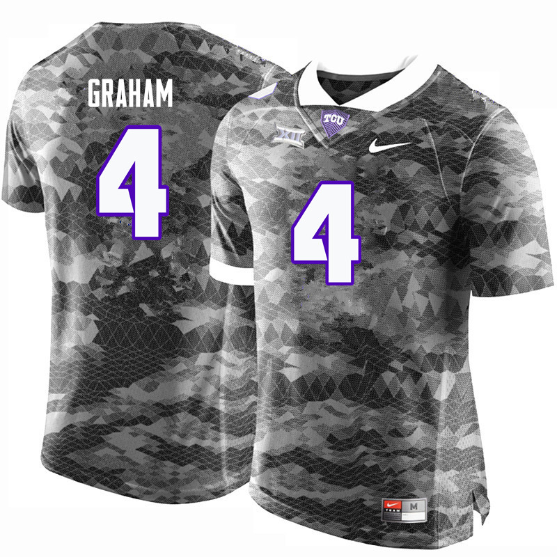 Men #4 Isaiah Graham TCU Horned Frogs College Football Jerseys-Gray