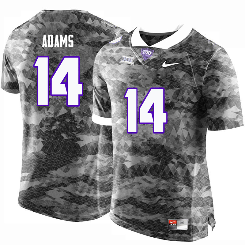 Men #14 Jack Adams TCU Horned Frogs College Football Jerseys-Gray