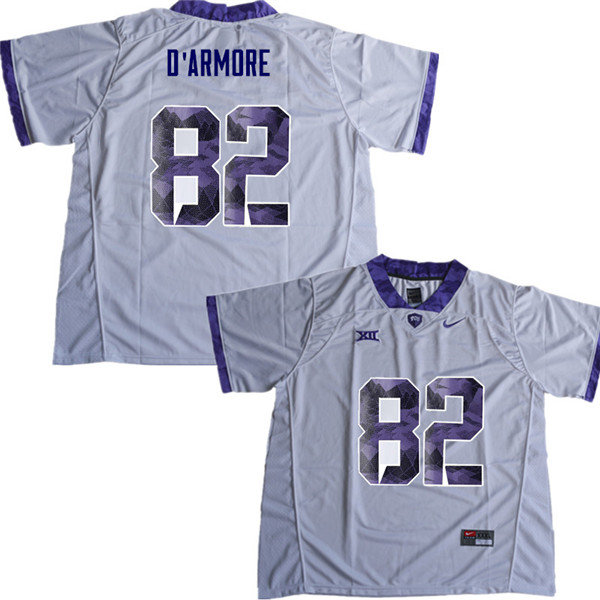 Men #82 Jason D Armore TCU Horned Frogs College Football Jerseys Sale-White