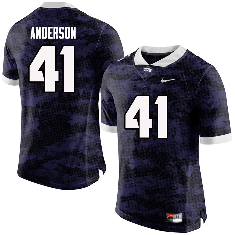 Men #41 Jonathan Anderson TCU Horned Frogs College Football Jerseys-Purple