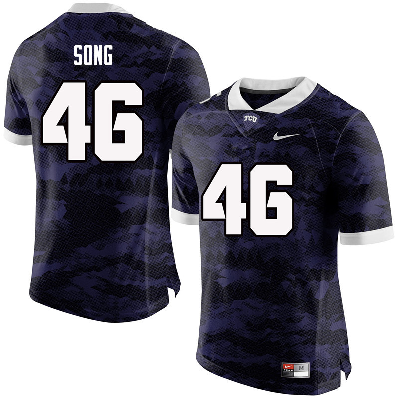 Men #46 Jonathan Song TCU Horned Frogs College Football Jerseys-Purple