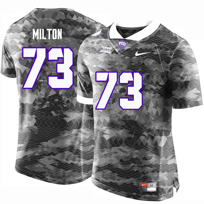Men #73 Jozie Milton TCU Horned Frogs College Football Jerseys-Gray