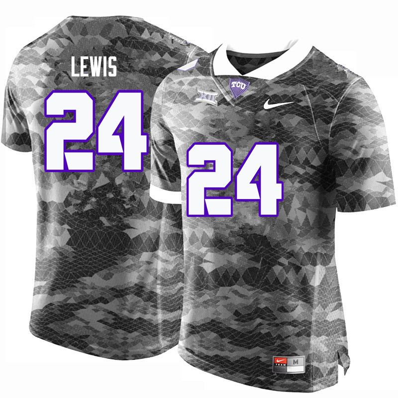 Men #24 Julius Lewis TCU Horned Frogs College Football Jerseys-Gray