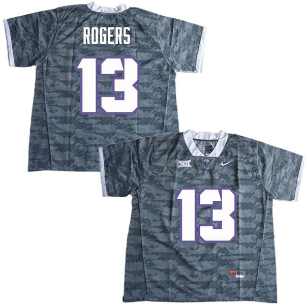 Men #13 Justin Rogers TCU Horned Frogs College Football Jerseys Sale-Gray
