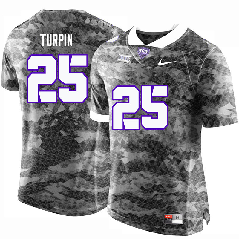 Men #25 KaVontae Turpin TCU Horned Frogs College Football Jerseys-Gray