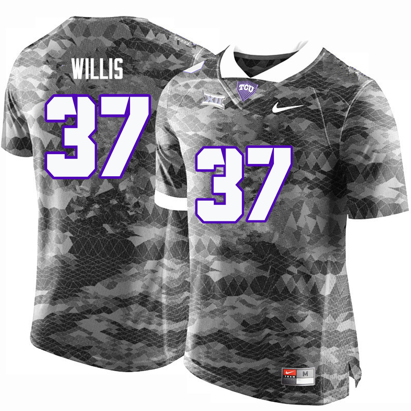 Men #37 Kade Willis TCU Horned Frogs College Football Jerseys-Gray
