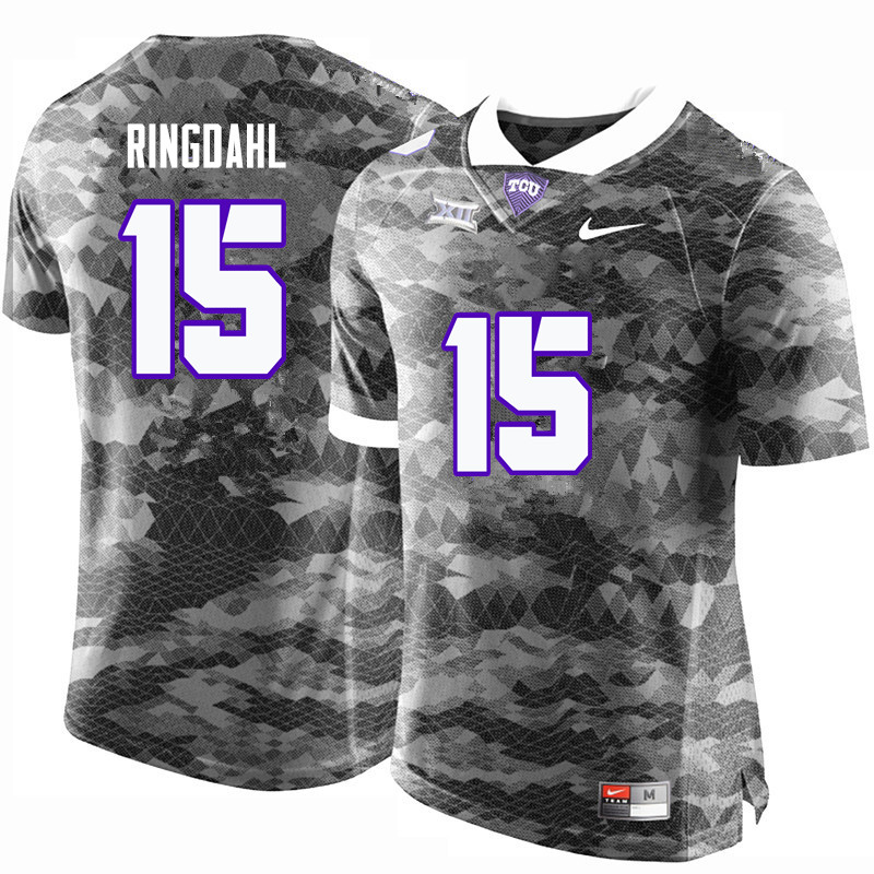 Men #15 Karson Ringdahl TCU Horned Frogs College Football Jerseys-Gray
