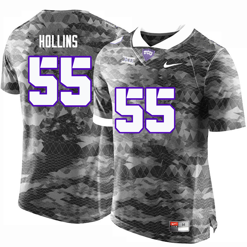 Men #55 Kellton Hollins TCU Horned Frogs College Football Jerseys-Gray