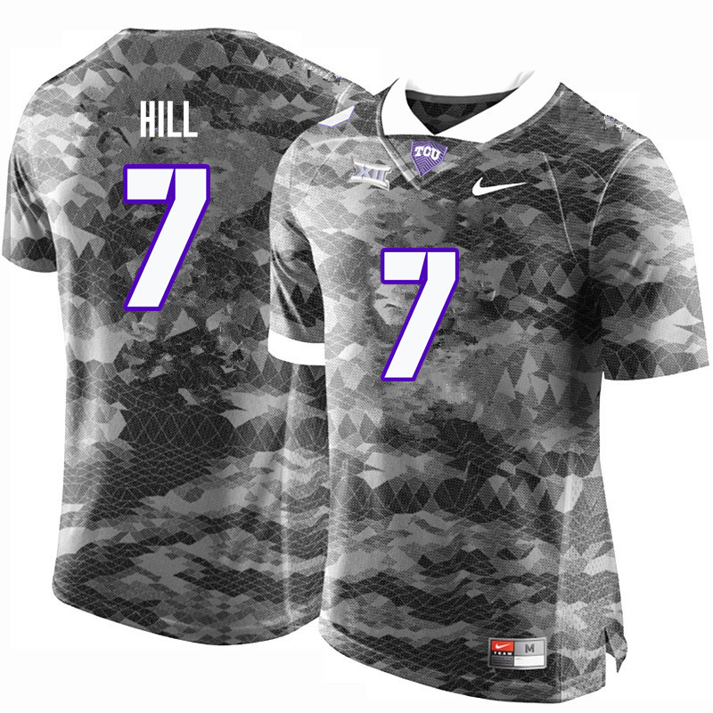 Men #7 Kenny Hill TCU Horned Frogs College Football Jerseys-Gray